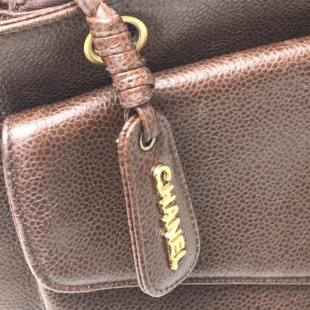 c07e80476de008 CHANEL Chanel chain bag tote bag CC vintage shoulder bag caviar skin brown  Lady's