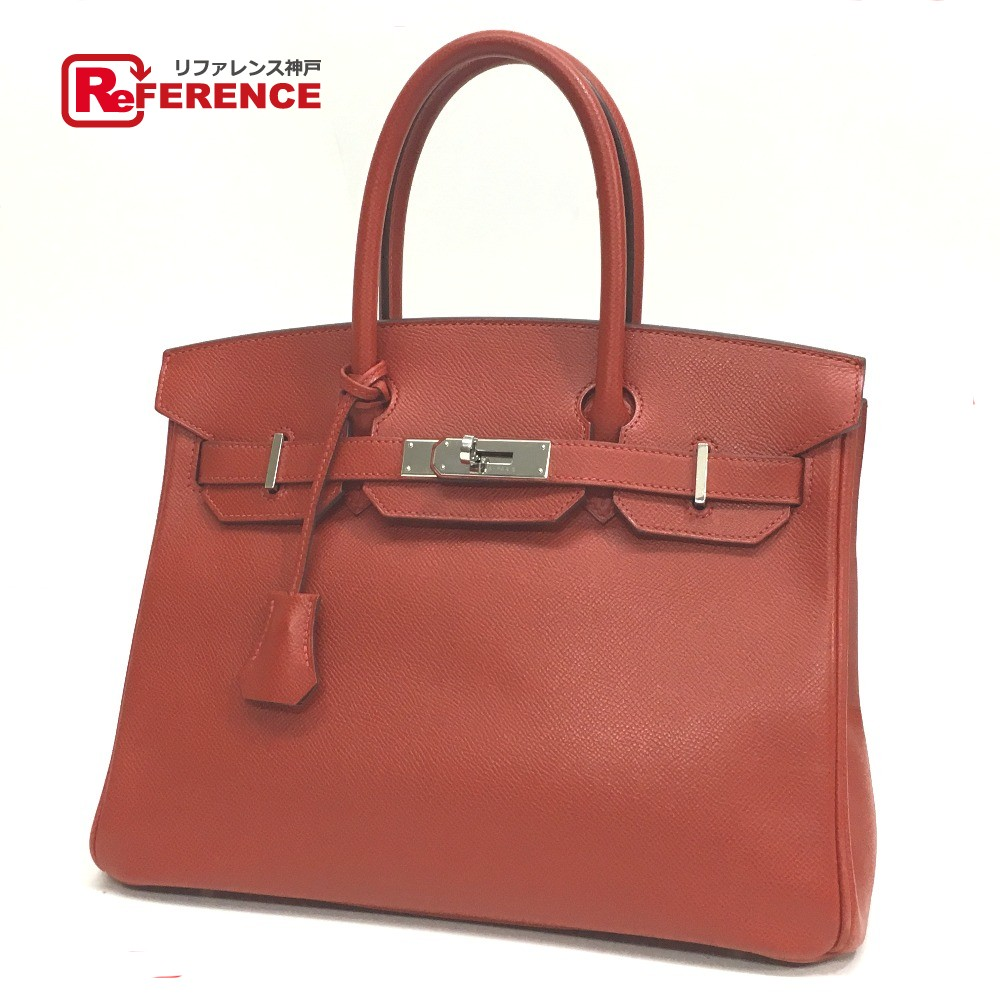 31cf40f55fac AUTHENTIC HERMES Birkin 30 Hand Bag Rouge Garance SilverHardware Epsom