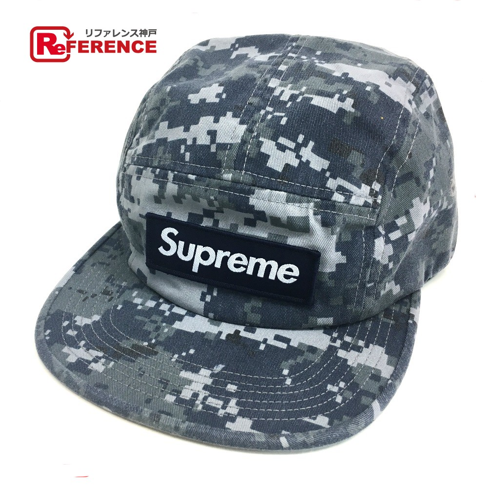 c8048296 AUTHENTIC Supreme Unused Camouflage Twill Camp cap 17 FW Supreme NYCO Twill  Camp Cap hat Navy ...