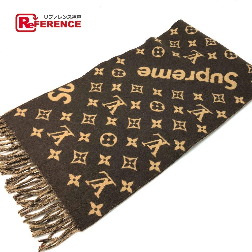 AUTHENTIC LOUIS VUITTON Unused 17aw Supreme Louis Vuitton Monogram Scarf  Louis Vuitton x Supreme Monogram Men s Women s Scarf Brown wool Cashmere  MP1891 f93d1132ce1