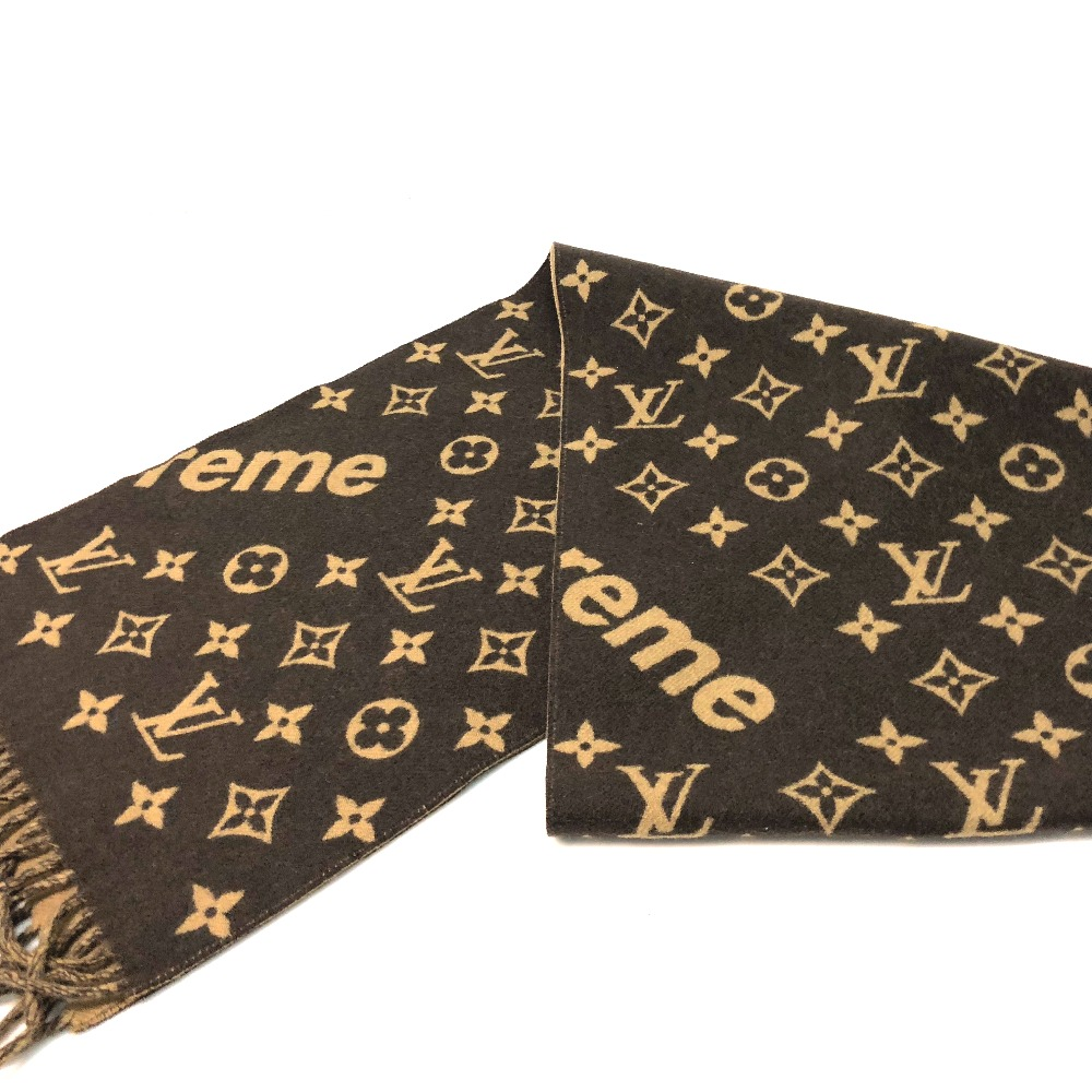 86a3a3411408 AUTHENTIC LOUIS VUITTON Unused 17aw Supreme Louis Vuitton Monogram Scarf  Louis Vuitton x Supreme Monogram Men s Women s Scarf Brown wool Cashmere  MP1891