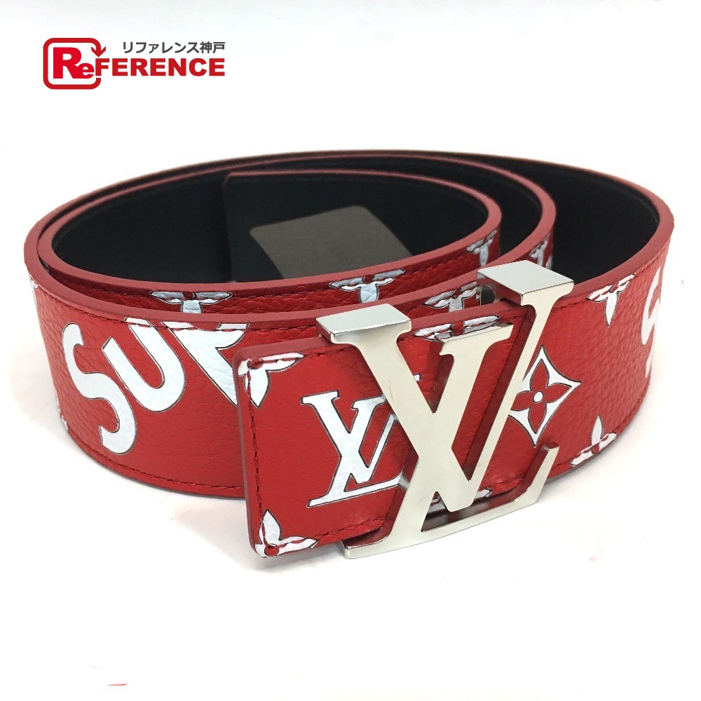Authentic Louis Vuitton X Supreme Monogram Ceinture Lv Initial 17aw Initiales 40 Mm Belt Red Leather Mp015