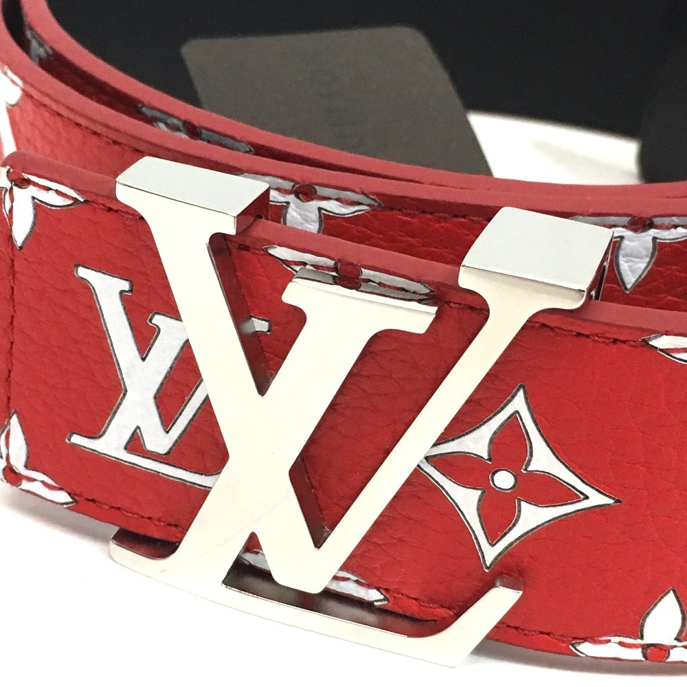 b08b67ebb3ed AUTHENTIC LOUIS VUITTON Louis Vuitton x Supreme Monogram Ceinture LV  initial 17aw Supreme Louis Vuitton LV Initiales 40 MM Belt belt Red Leather  MP015