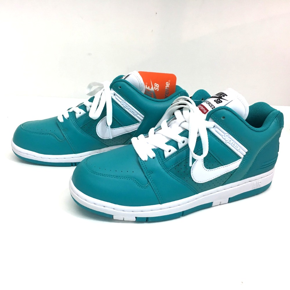 AUTHENTIC Supreme Unused Air Force 2 Supreme x Nike Supreme 17 AW NIKE SB Air Force 2 TEAL AF 2 sneakers blue Enamel x Leather