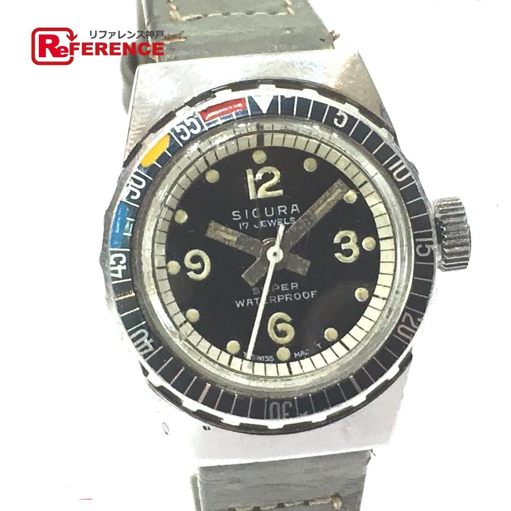 シクラ ダイバーズウォッチ 腕時計 SS/革ベルト シルバー レディース【中古】
