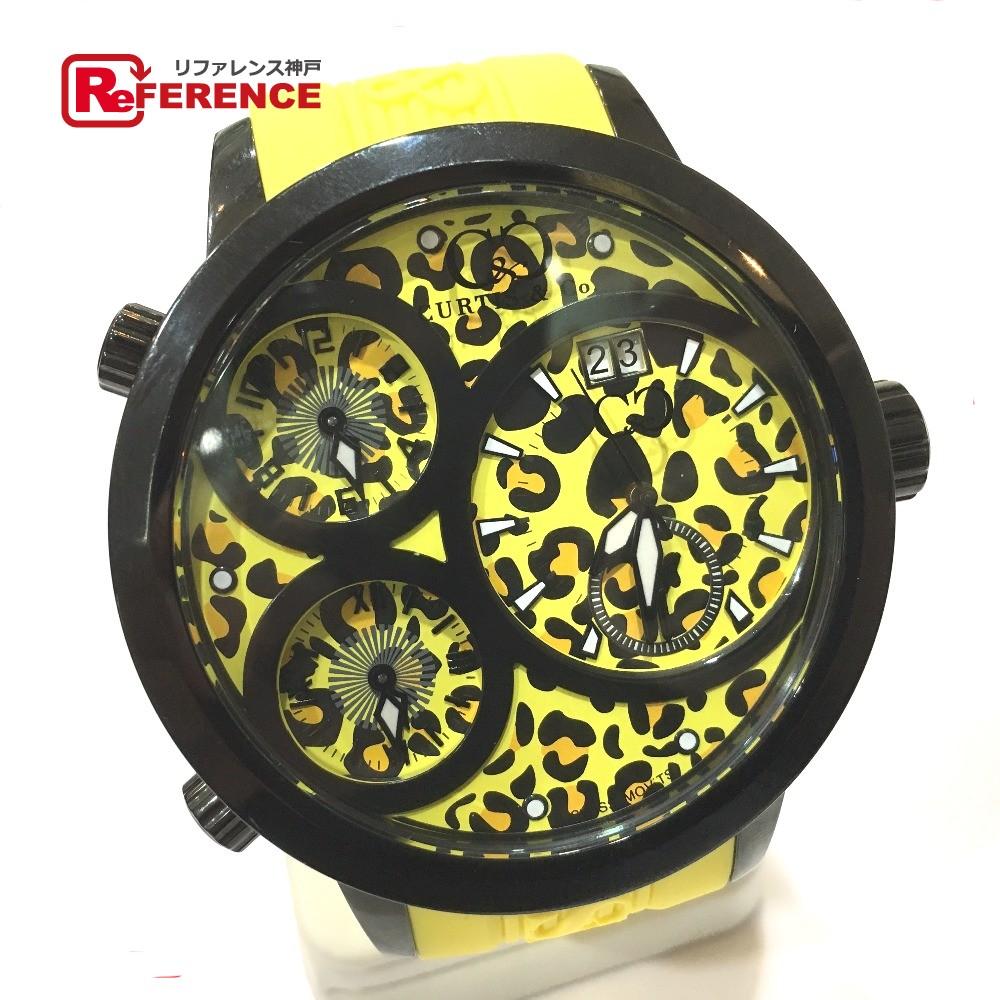 カーティスアンドコー SUW57JPJGY-B Yellow Leopard Dial イエローレオパードダイアル JAPAN LIMITED EDITION ジャパンリミテッドエディション BIG Time WORLD 57mm ビックタイム57ミリ 腕時計 SS/ラバー イエロー メンズ 未使用【中古】