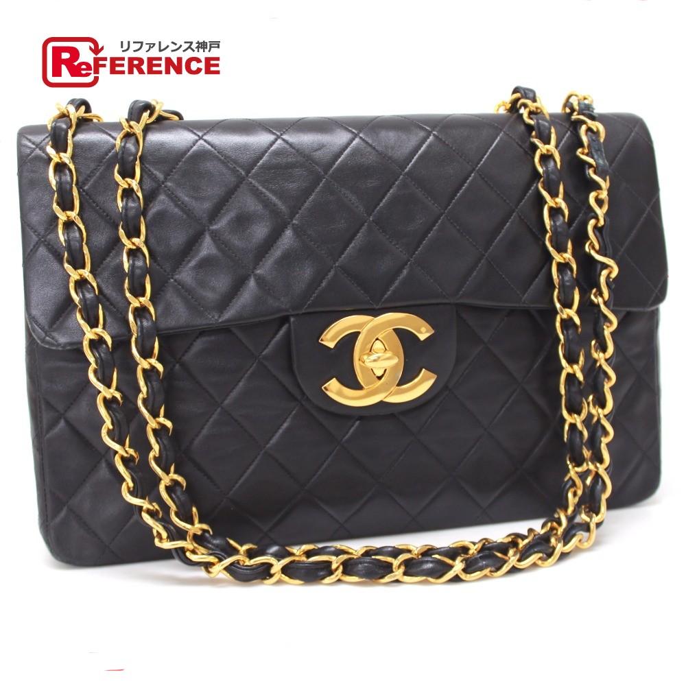 dc03a600bc53 AUTHENTIC CHANEL Jumbo Matelasse 34 Double Chain Shoulder Bag Shoulder Bag  Black Lambskin Leather ...