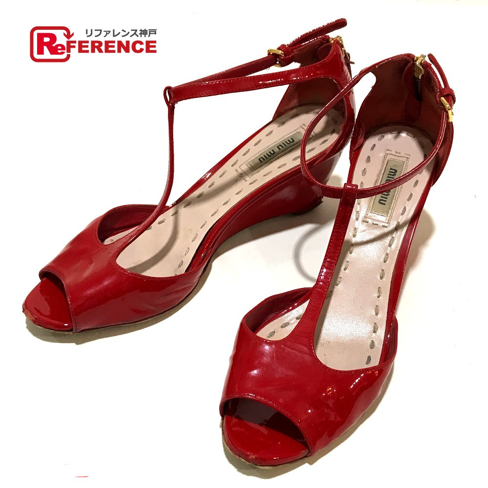 90da462ff11 BRANDSHOP REFERENCE  AUTHENTIC MIUMIU Heel Open toe strap Sandals Red  Patent Leather Printed  37 1 2
