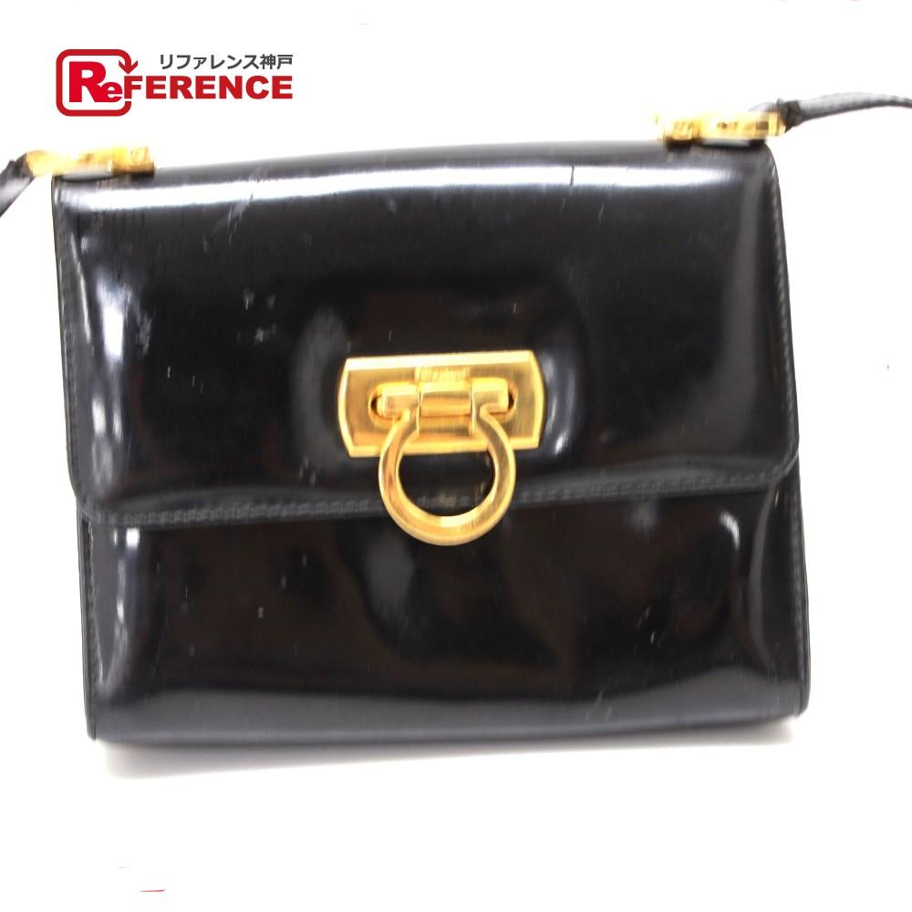 BRANDSHOP REFERENCE  AUTHENTIC Salvatore Ferragamo Gancini mini Shoulder  Bag Black Patent Leather  7aeaaffa5104c