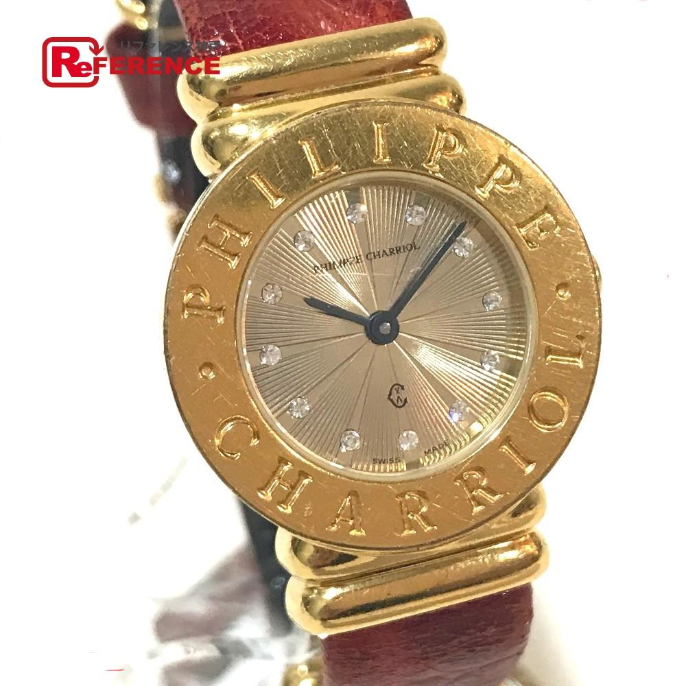 PHILIPPE CHARRIOL フィリップ・シャリオール 7007901 レディース腕時計 サントロぺ 12Pジルコニア 腕時計 GP/革ベルト ゴールド レディース【中古】