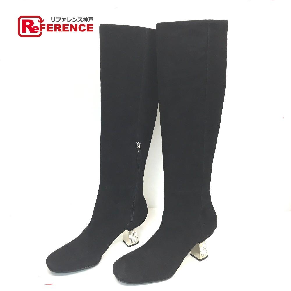 MIUMIU ミュウミュウ ビジュー ロングブーツ ブーツ スエード ブラック レディース 未使用【中古】