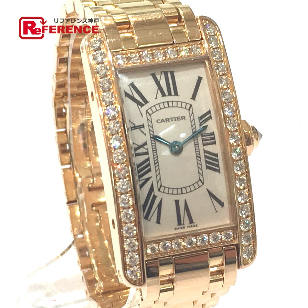 13ad88d97d8 AUTHENTIC CARTIER tank American SM Diamond Bezel Women s Watch Wristwatch  Pink Gold K18 Pink Gold Diamond Mondo WB7079M5