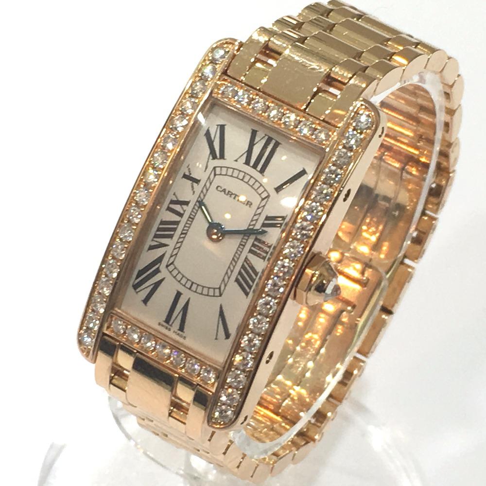 size 40 ee177 841b6 CARTIER カルティエ WB7079M5 レディース腕時計 金無垢 アメリカンSM ダイヤベゼル タンク 腕時計 K18PG/ダイヤモンド  ピンクゴールド レディース【中古】|ブランドショップ リファレンス