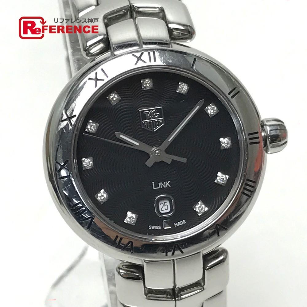 TAG HEUER タグホイヤー WAT1410.BA0954 レディース腕時計 11Pダイヤ リンク デイト 腕時計 SS ブラック レディース【中古】