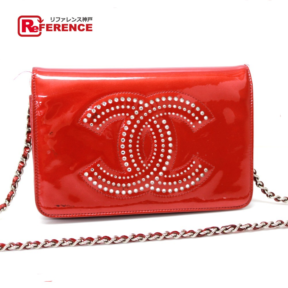 615b76fb9d9e AUTHENTIC CHANEL Strauss CC Rhinestone Chain Wallet Wallet Bag Shoulder Bag  Red Patent Leather ...