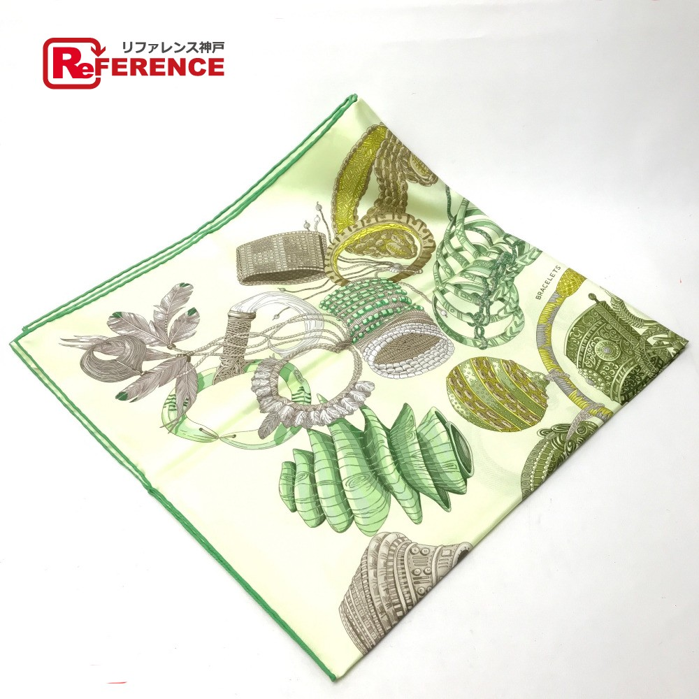 HERMES エルメス Bracelets de Lumiere(光のブレスレット ) カレ90 スカーフ シルク/ ヴェール×ジョーヌスフレ レディース【新品】