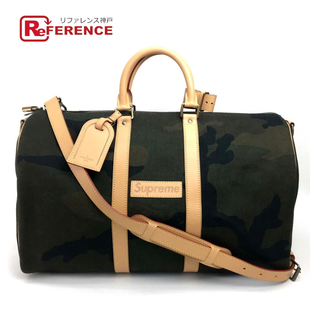 Authentic Louis Vuitton Monogram Camouflage Keepall Bandouliere45 X Supreme 17 Aw Keep 45 Ba