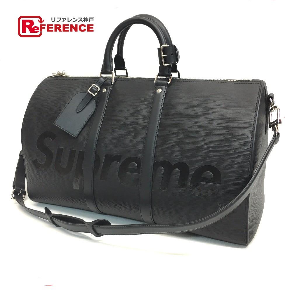 AUTHENTIC LOUIS VUITTON Louis Vuitton x Supreme Epi Keepall - Bandouliere  45 17aw Supreme Louis Vuitton KEEP.45 BA.SP EPI DWT NOIR Duffle Bag Black  Epi ... f3b950ad6f64a
