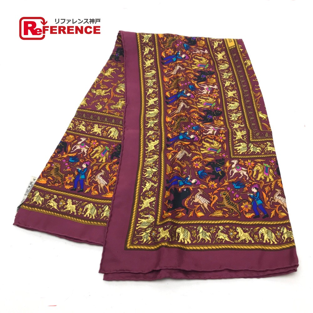 HERMES エルメス CHASSEENINDE(インドの狩猟) カレ90 スカーフ シルク/ パープル系 レディース【中古】