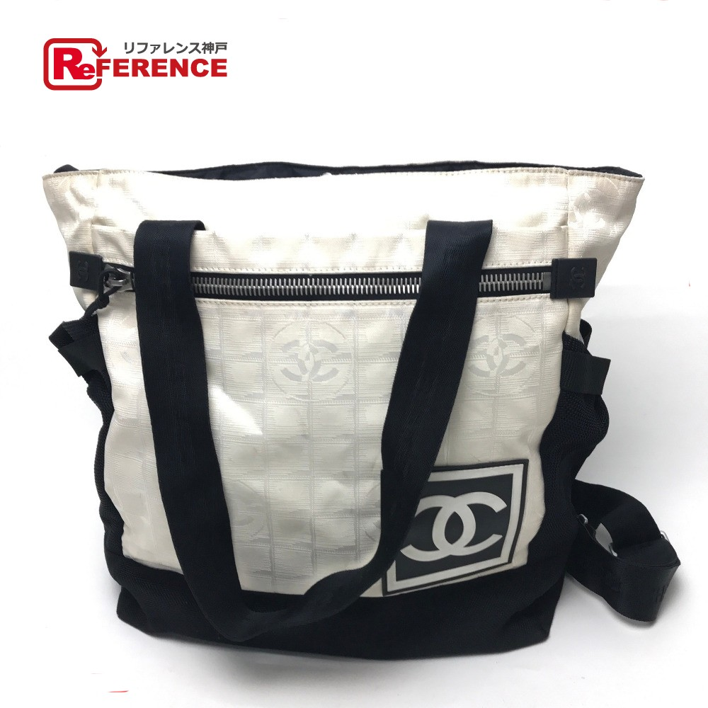 AUTHENTIC CHANEL New travel line CC Backpack Shoulder Bag 2 WAY Backpack-Bag  White Black Nylon  A22061 d599219956