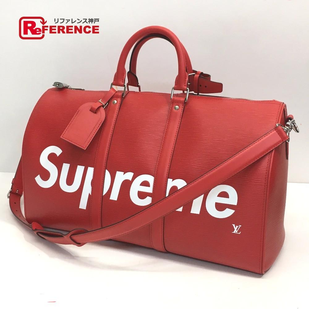 Authentic Louis Vuitton X Supreme Keepall Bandouliere 45 Duffle Bag 17aw Keep Ba Sp Epi Dwt R Red