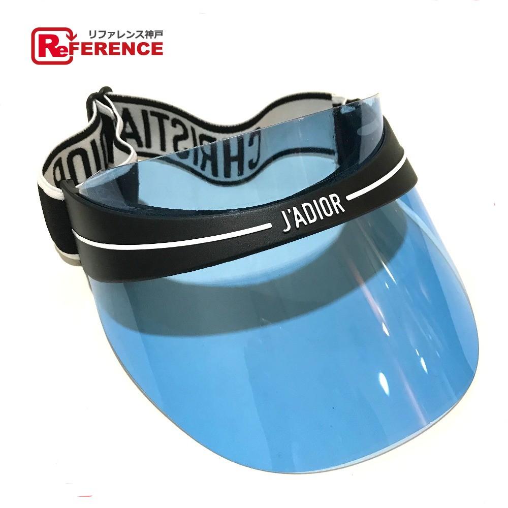 AUTHENTIC Christian Dior Unused J ADIOR logo Sun visor hat Black x Blue  Plastic 259170846b4