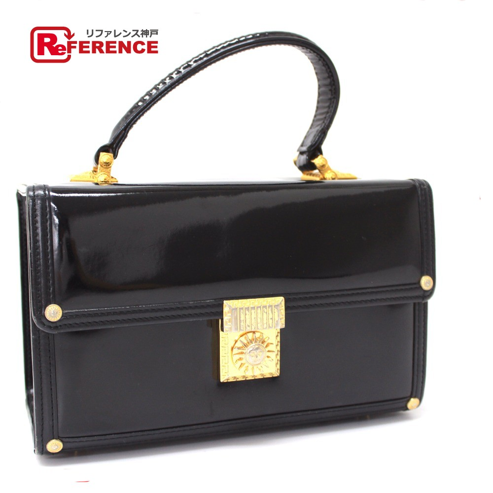 5dd3c1c3ac BRANDSHOP REFERENCE: AUTHENTIC VERSACE Sunburst Vanity bag Hand Bag Black  Patent Leather | Rakuten Global Market