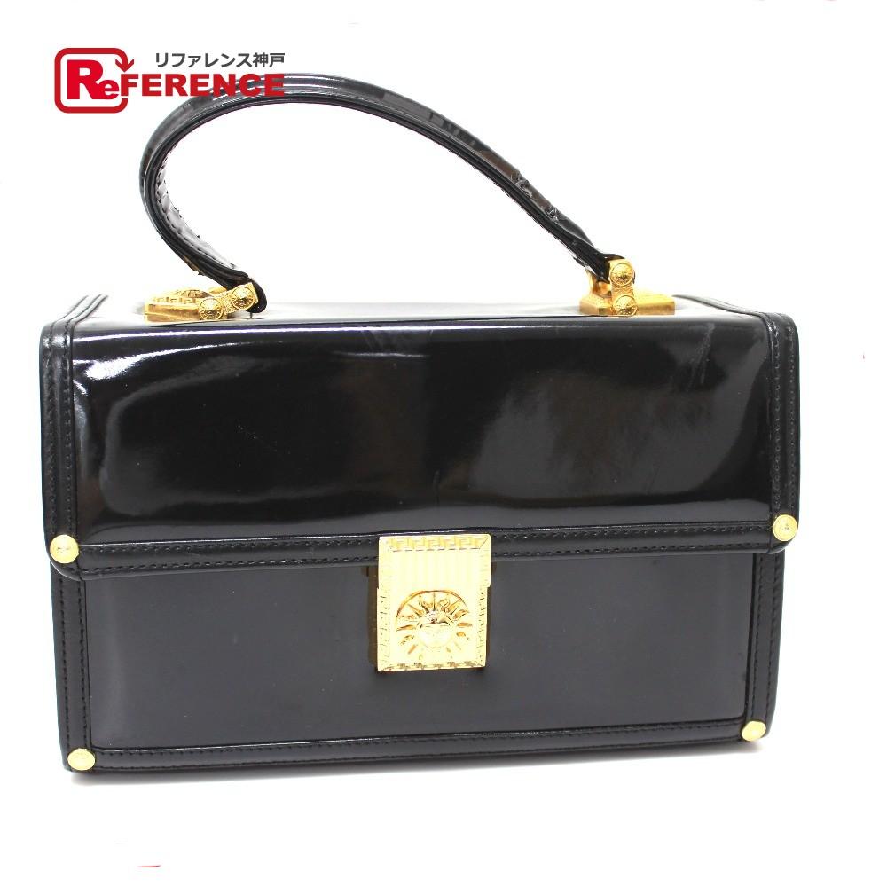 4f9e271a AUTHENTIC VERSACE Sunburst Vanity bag Hand Bag Black Patent Leather