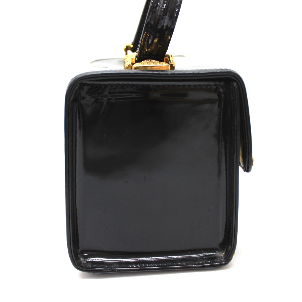 fe12e23926 ... AUTHENTIC VERSACE Sunburst Vanity bag Hand Bag Black Patent Leather ...