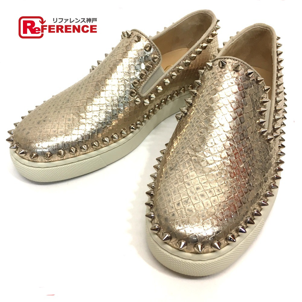 ae2d5600e28 AUTHENTIC Christian Louboutin Unused Python stamping spike Slippon sneakers  Gold Python 36