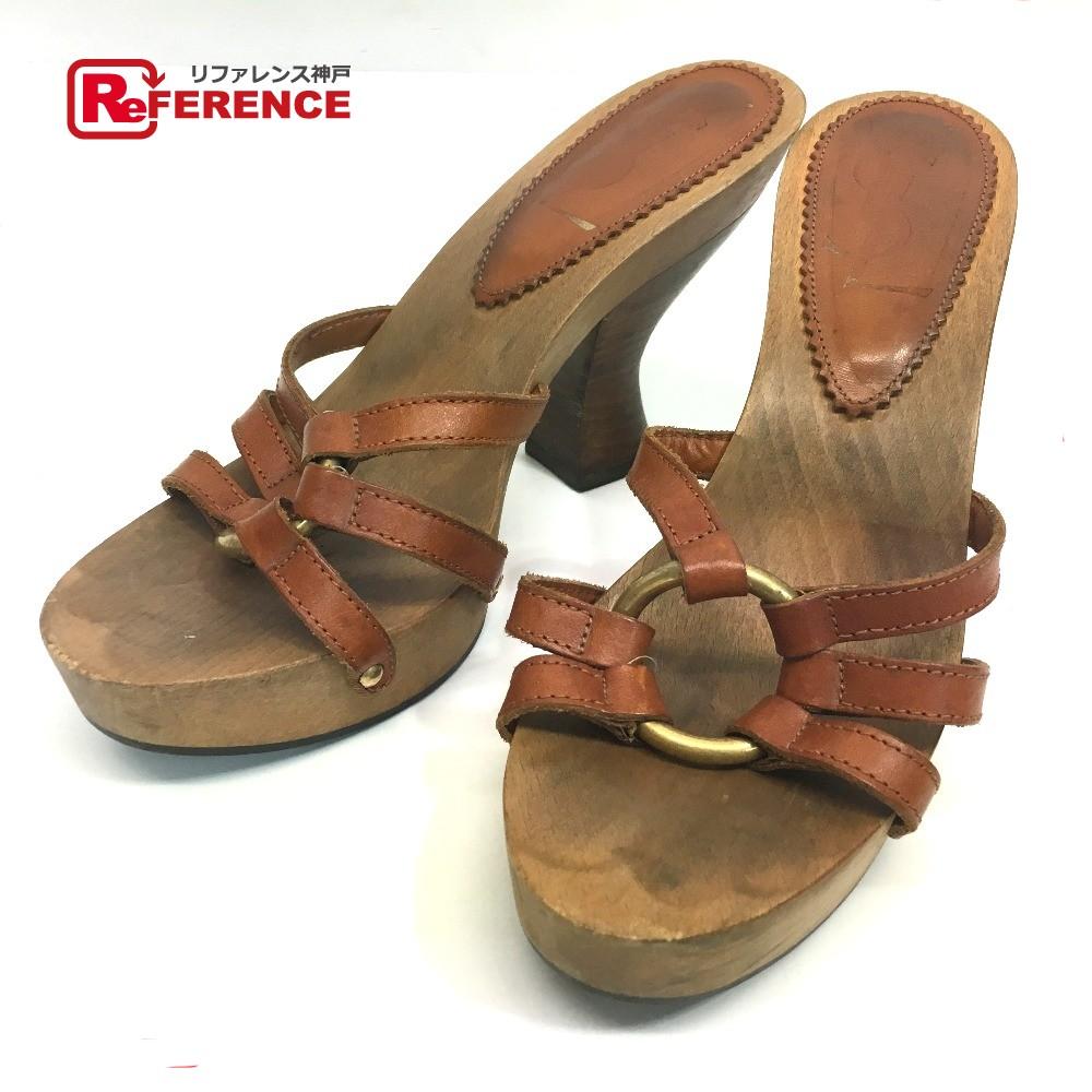 BRANDSHOP REFERENCE  AUTHENTIC YVES SAINT LAURENT Women s Shoes Heel Mules  Sandals Brown Leatherx Wood 37  158cfea36