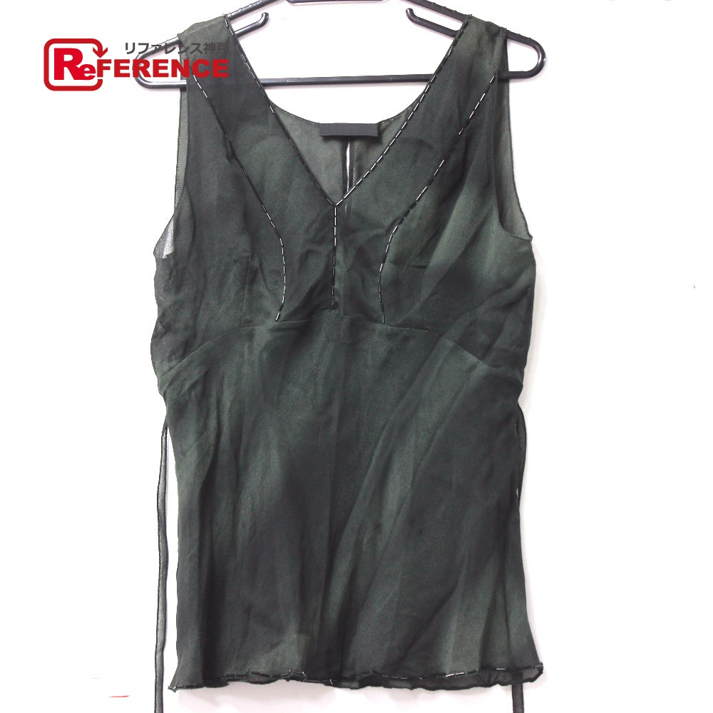 57f36e3b32e BRANDSHOP REFERENCE  AUTHENTIC PRADA See-through Blouse Sleeveless Tank top  Green