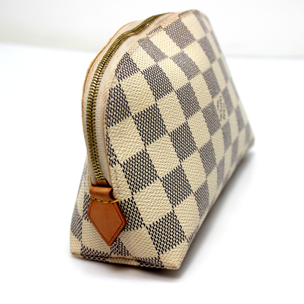 750f68eab6bb AUTHENTIC LOUIS VUITTON Damier-Azur Pochette - Cosmetics Makeup pouch  Cosmetics Pouch White Damier-Azur Canvas N60024