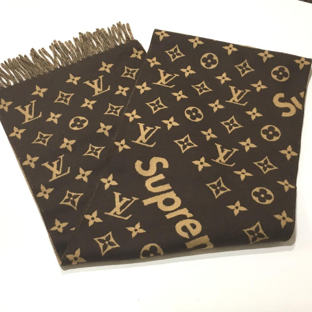 a721ee2ab8cb AUTHENTIC LOUIS VUITTON 17aw Supreme Louis Vuitton Monogram Scarf Louis  Vuitton x Supreme Monogram Men s Women s Scarf Brown MP1891