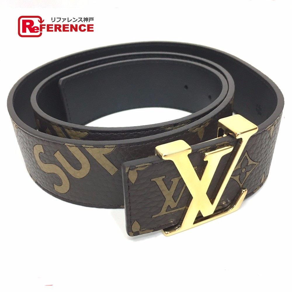 Authentic Louis Vuitton Monogram Ceinture Lv Initial X Supreme 17aw Initiales 40 Mm Belt Brown Leather Mp016