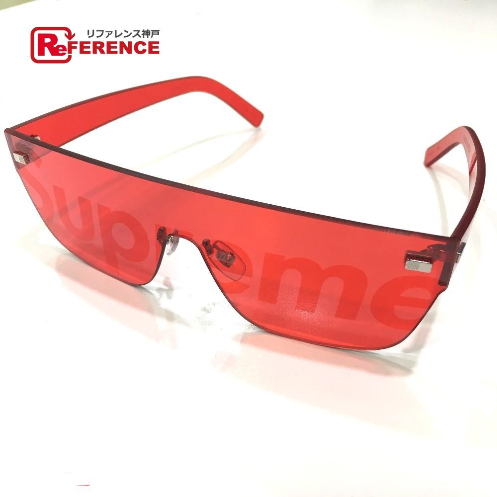 56457ec1c7 AUTHENTIC LOUIS VUITTON Men s Women s Louis Vuitton x Supreme 17aw Supreme  Louis Vuitton City Mask SP Sunglasses sunglasses Red Plastic Z0985U
