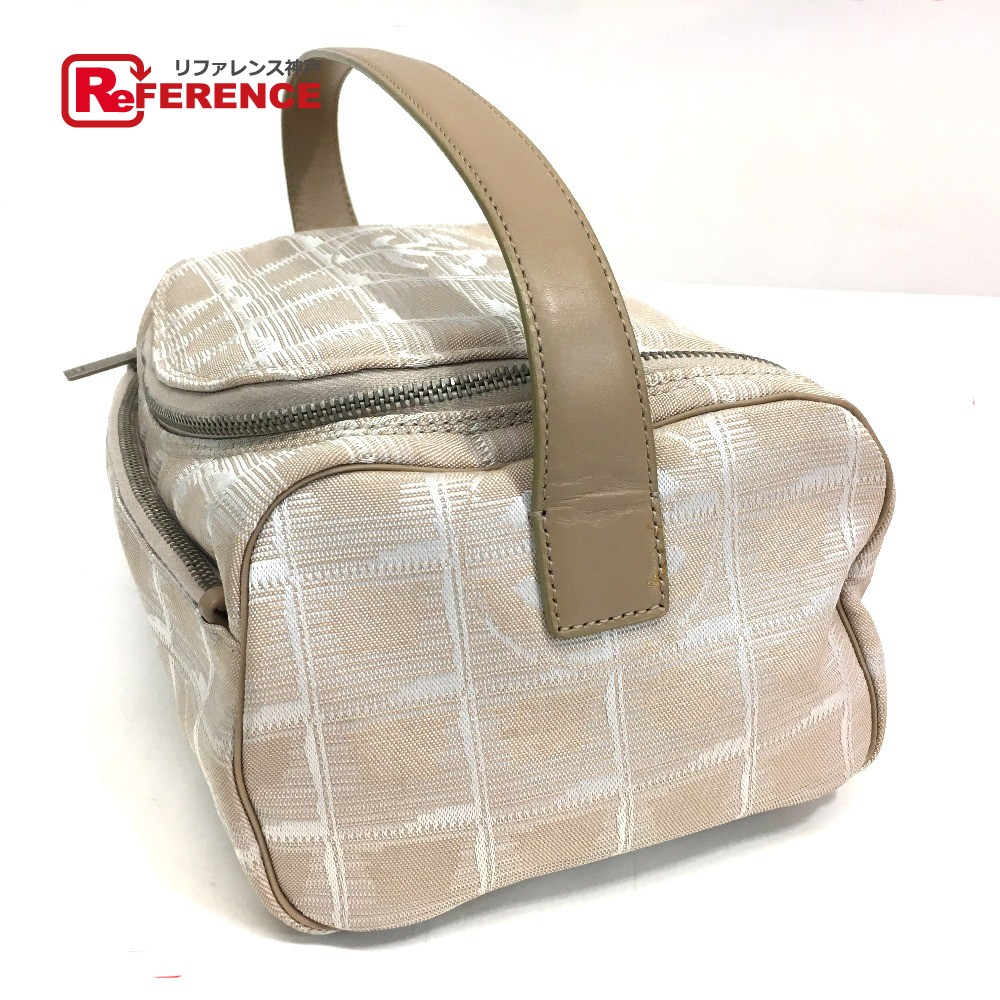 f5b82588a05a AUTHENTIC CHANEL New travel line Vanity bag Hand Bag Beige Nylon A15829