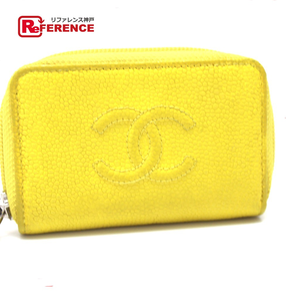 673c6e296dc4 AUTHENTIC CHANEL CC Mark CC Zip Around coin purse yellow Caviar Leather  A68890