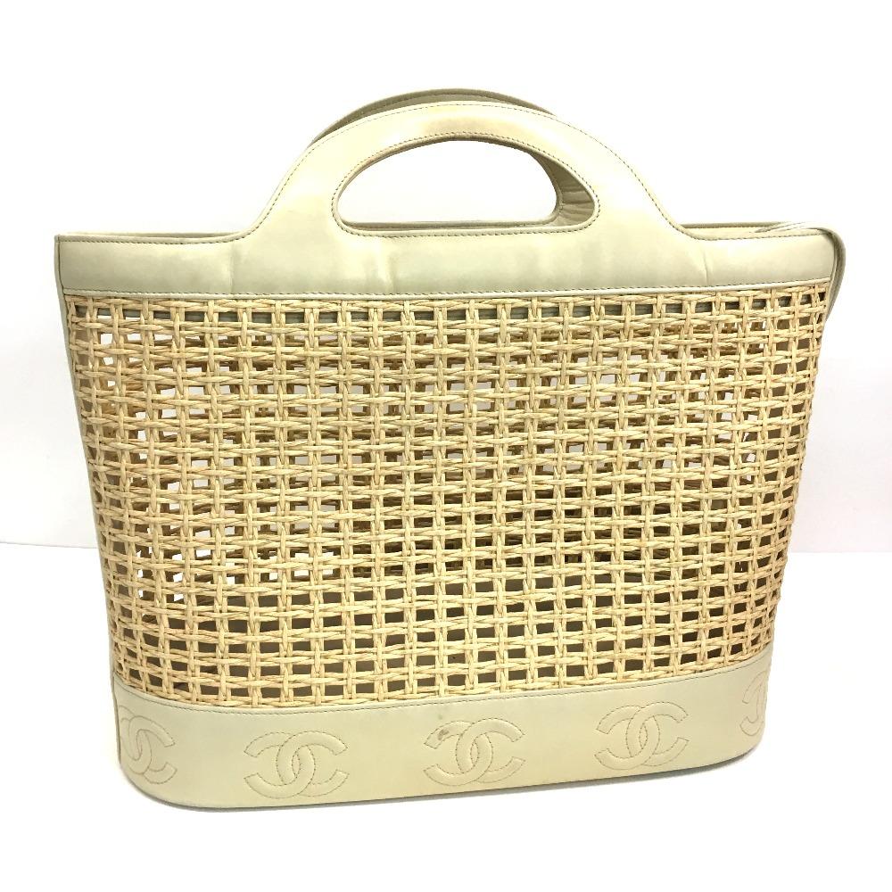 8b3d5af664c109 BRANDSHOP REFERENCE: AUTHENTIC CHANEL Straw Bag Bag Hand Bag Beige ...