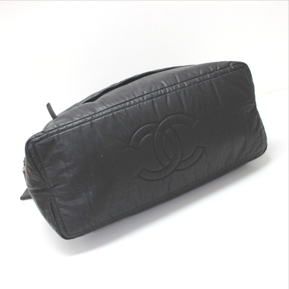 d9f8c3d29389 AUTHENTIC CHANEL Matelasse Tote Bag Hand Bag Travel Bag Men s Shoulder Bag  Duffle Bag Black Coating Canvas