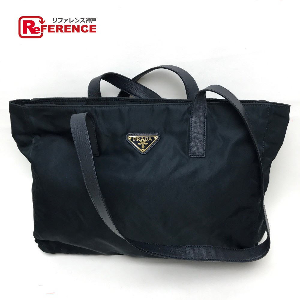 BRANDSHOP REFERENCE  PRADA Prada tote bag logo plate shoulder bag nylon X  leather   dark navy  dcf4bbd0b7ada