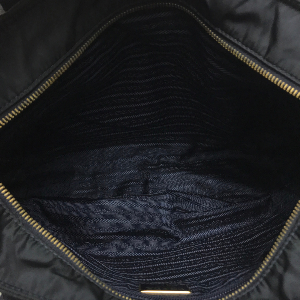 PRADA Prada tote bag logo plate shoulder bag nylon X leather   dark navy ba43d7fba37b3