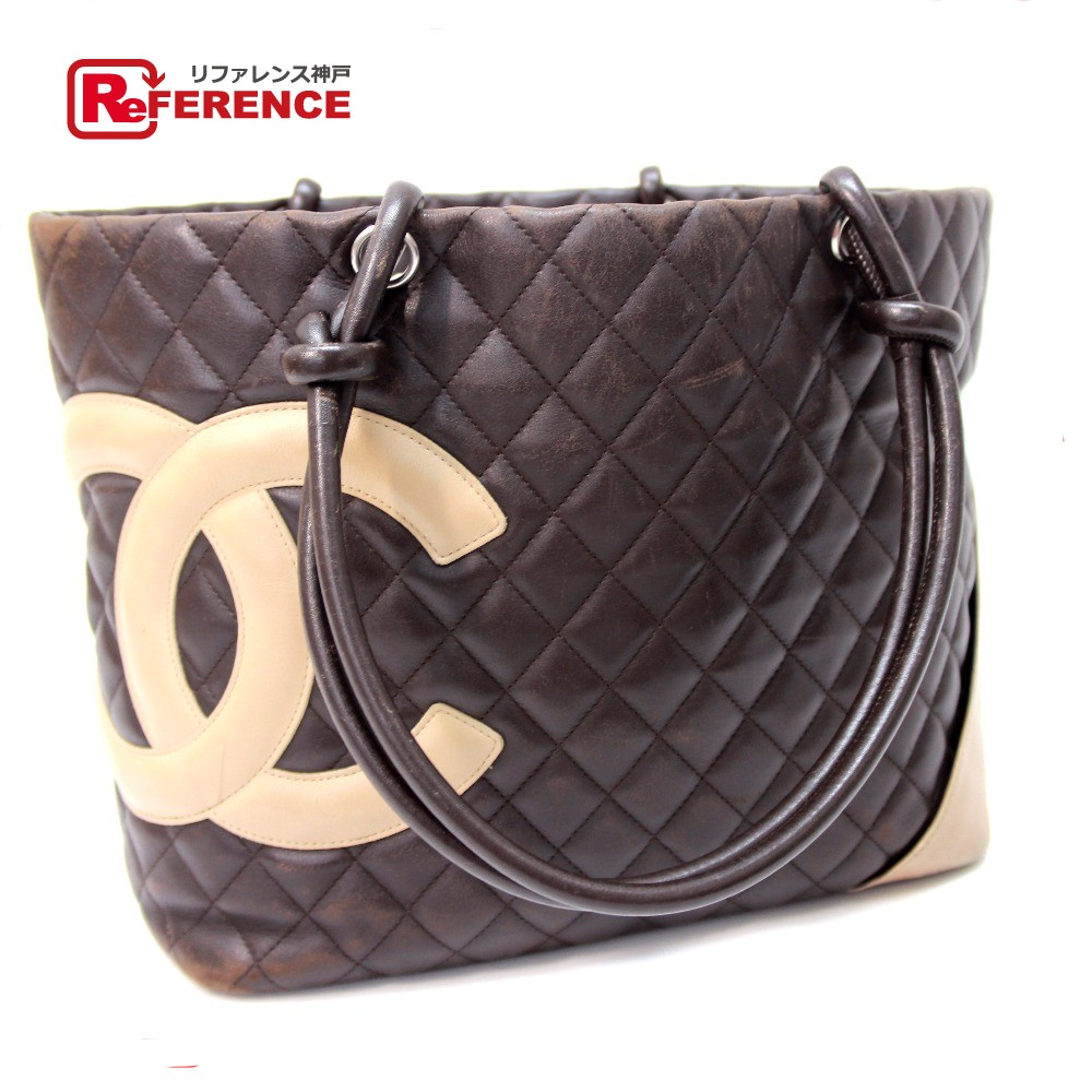 77d94d73274d AUTHENTIC CHANEL Cambon Line Large Tote / Shoulder Bag Women's Tote Bag  Brown Calf LeatherLeather/ ...