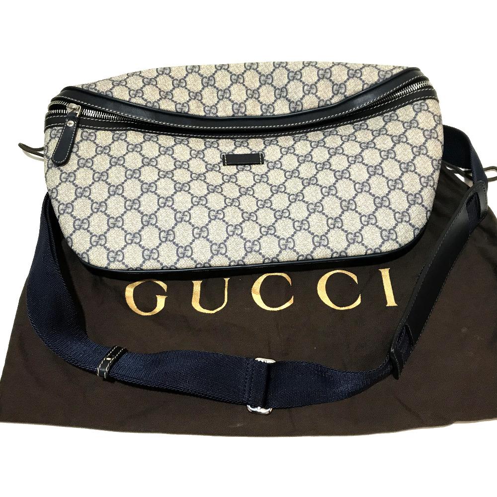 6b3dfebb272 GUCCI Gucci 211110 bum-bag GG plus body bag PVC X leather beige X navy men