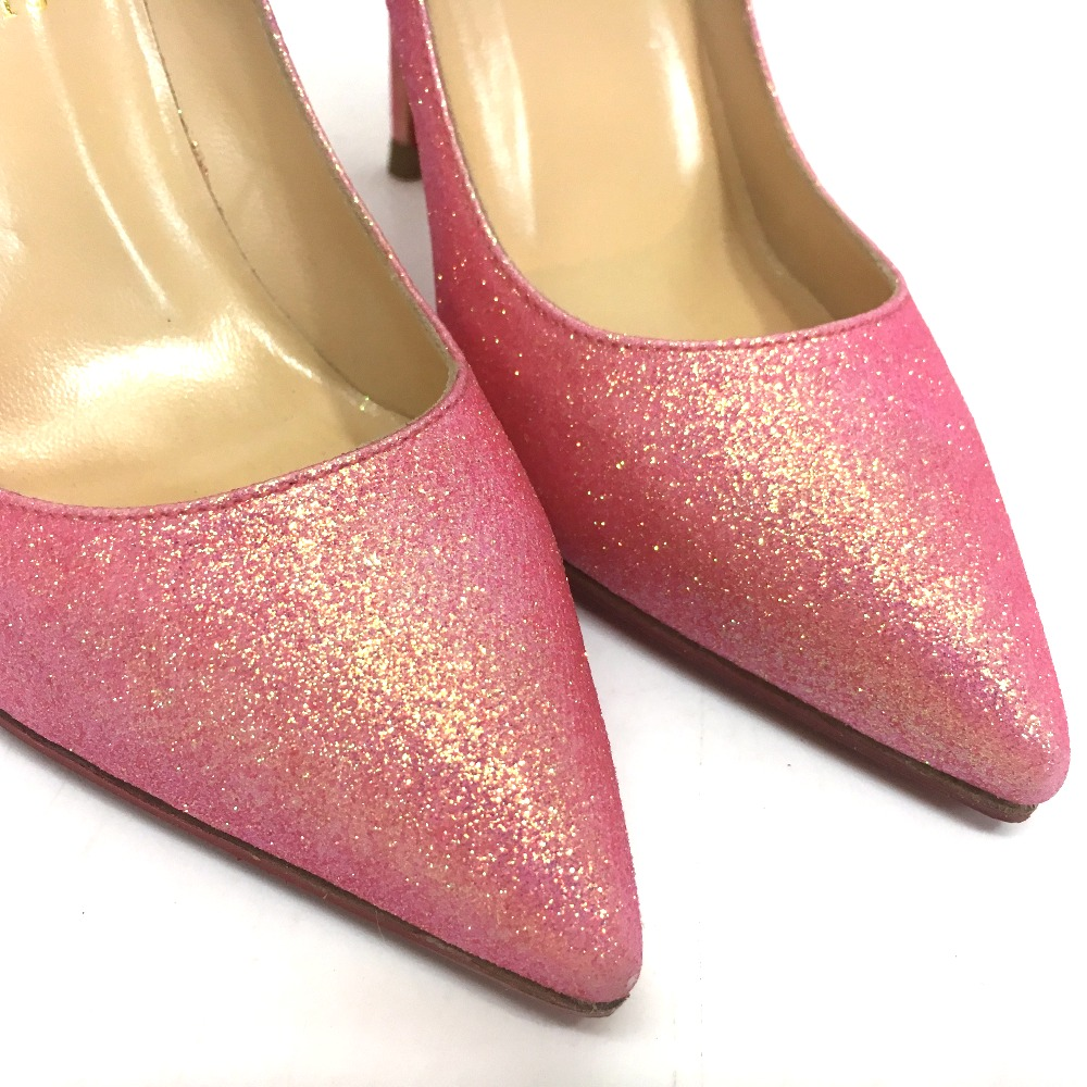 super cute 9cace 468e8 AUTHENTIC Christian Louboutin High heels Grister Batignoles 100 Glitter  Mini pumps pink Lame processing Leather 6