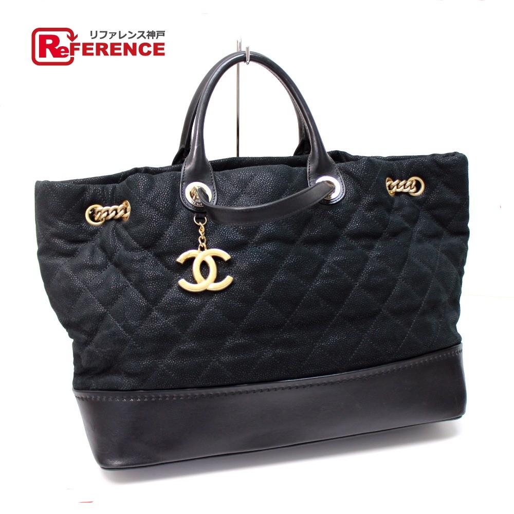 4e86ef1f0fca AUTHENTIC CHANEL 2 WAYTote Bag / Shoulder Bag Women's Tote Bag Black /Calf  Leather Skin