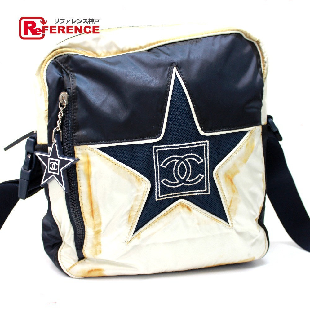 AUTHENTIC CHANEL Sports Star CC Square Crossbody Shoulder Bag Shoulder Bag  Navy White Nylon A36889 f7af586868947