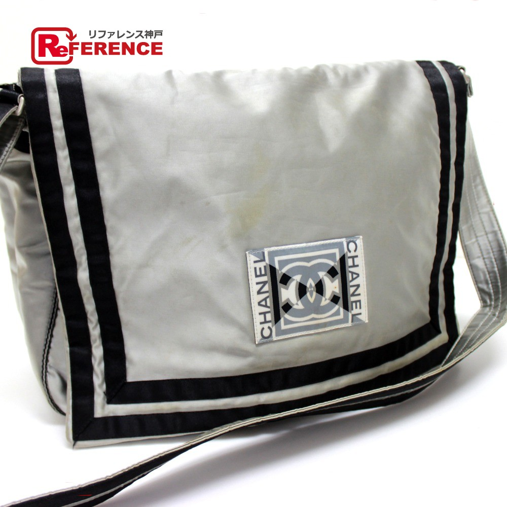 12792e10f1a3fb AUTHENTIC CHANEL Sports line Crossbody Shoulder Bag Women's Men's Shoulder  Bag Silver Nylon A31751