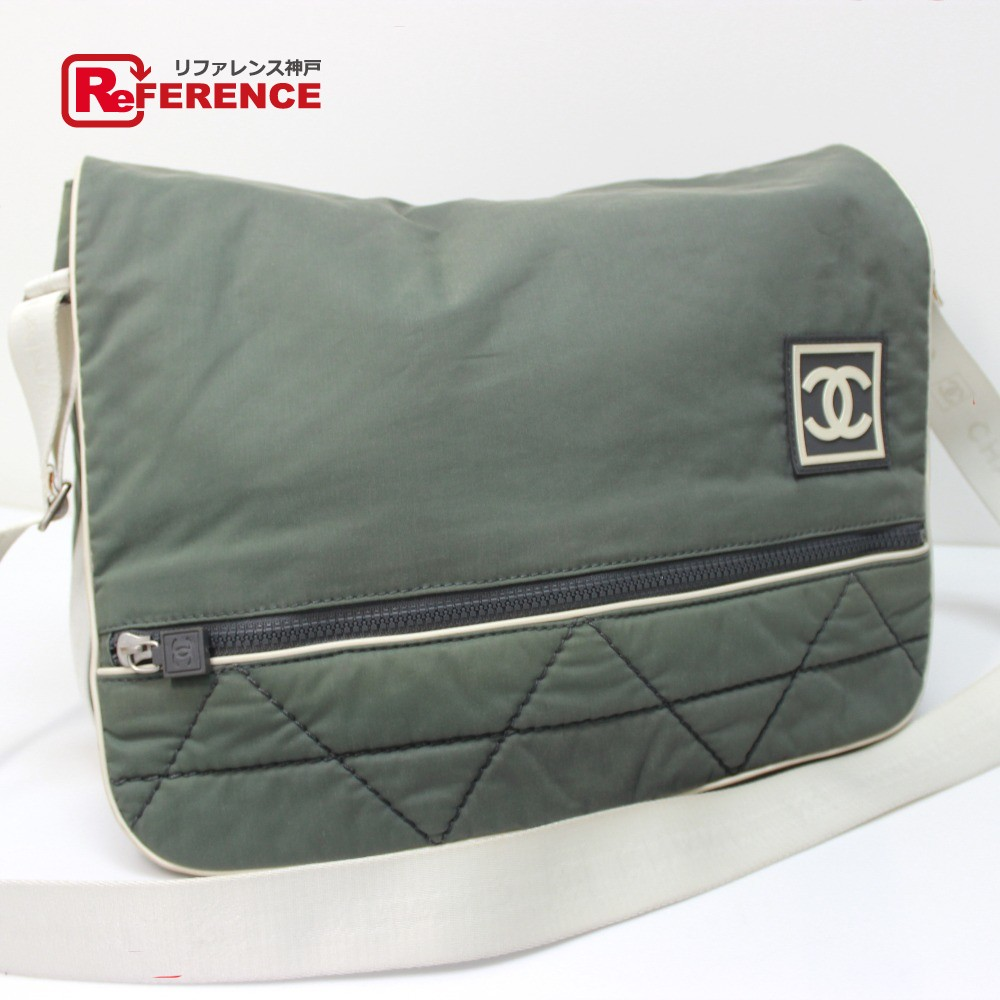 BRANDSHOP REFERENCE  AUTHENTIC CHANEL Sports Crossbody Shoulder Bag  Shoulder Bag khaki Green Nylon Canvas  8c8e8fa636e47