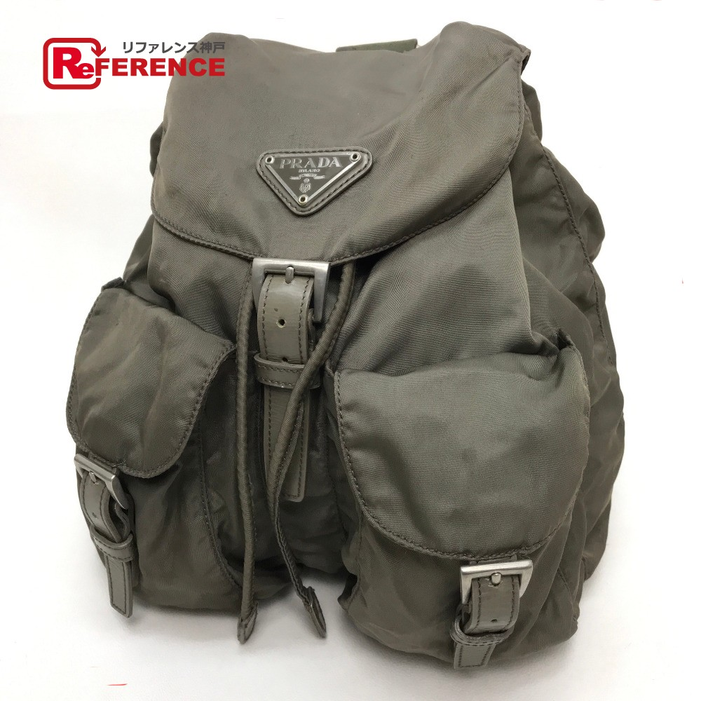 BRANDSHOP REFERENCE  PRADA Prada B6677F rucksack backpack logo plate men  gap Dis rucksack day pack nylon X leather   khaki system Lady s  0ed893e2ec1b1